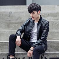秋冬皮夹克男士外套青年休闲修身型立领皮衣韩版常规拉链秋季