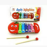 婴幼儿童益智男女孩音乐宝宝玩具积木制手敲五音敲琴1-2岁3-6周岁木制手敲琴 苹果五音敲琴 儿童木制敲琴 水果琴 儿童