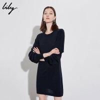 【6/4-6/8 一口价:279元】 Lily春女装羊毛针织宽松H型直筒圆领连衣裙118420B7305