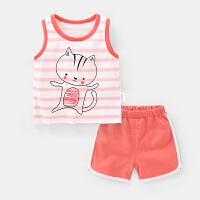 婴儿衣服条纹背心套装短裤儿童夏装男童女宝宝小童潮两件套