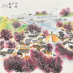 当代著名画家薛永69 X 69CM山水画gs01448