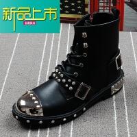 新品上市秋冬季男士皮靴朋克风铆钉金属机车马丁靴韩版潮流高帮鞋增高短靴