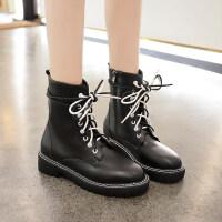 马丁靴女2019新款 百搭韩版秋季时尚粗跟低跟马丁靴女英伦风短靴 黑色