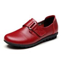 【头层牛皮】春秋妈妈鞋魔术贴单鞋中老年女鞋平底老人皮鞋 999 红色加绒