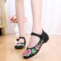 富贵牡丹春秋女单鞋复古民族风内增高绣花鞋坡跟舞蹈鞋
