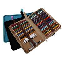 折叠式帆布笔袋素描彩色铅笔笔盒学生美术工具对折拉链插笔收纳包随身便携分类整理笔帘
