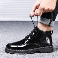 2019新款男鞋英伦小皮鞋漆皮亮面潮鞋工装皮靴马丁靴男士休闲短靴 黑色