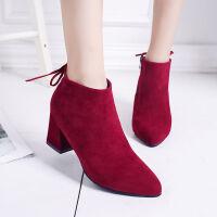 秋冬季女靴短靴粗跟靴子尖头百搭高跟时尚靴女时尚踝靴女鞋单靴