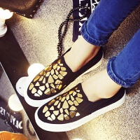 新款夏秋单鞋女鞋厚底鞋亮片松糕底黑色帆布鞋休闲鞋一脚蹬懒人鞋