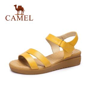 Camel/骆驼女鞋 春夏新款 休闲舒适小坡跟凉鞋气质通勤防滑鞋