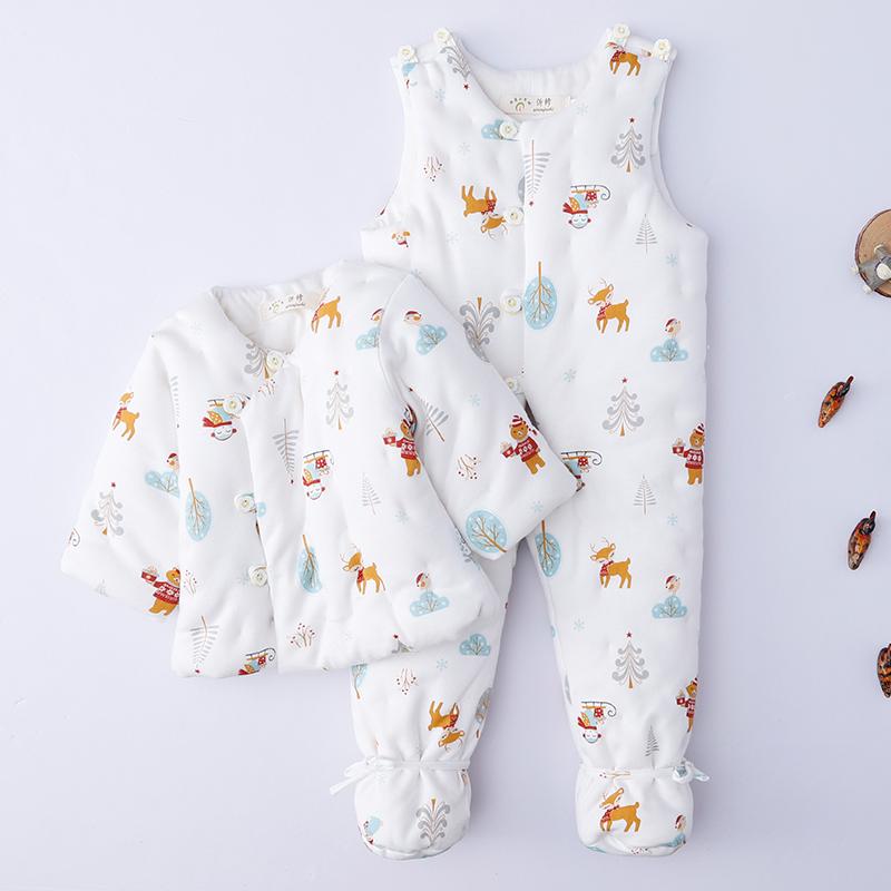 婴儿纯棉花棉袄套装 宝宝棉衣冬装