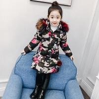 女童冬装童装中大童外套儿童棉袄中长款迷彩棉衣