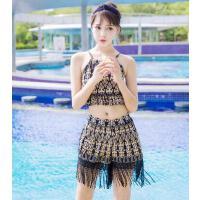 女泳衣 户外新款复古韩版时尚性感分体裙裤式修身显瘦三件套保守学生女泳衣