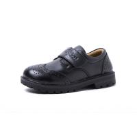 牛皮正装儿童皮鞋新款演出幼儿黑色白色春秋季男童女童英伦宝宝鞋 魔术贴 黑色
