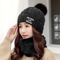 帽子女冬天可爱毛线帽冬季保暖针织帽护耳围脖一体潮