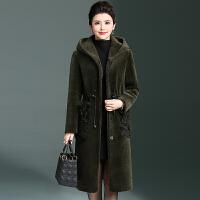 2017冬季新款羊剪绒大衣大码女装上衣真皮羊卷毛口袋时尚修身外套