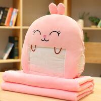 冬天学生卡通毛绒公仔暖手插手抱枕被子两用可以玩手机捂二手合一