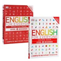 {小花生网推荐}人人学英语系列1 课本+练习册 2册套装 英文原版 english for everyone Level1 Beginner 英语初级自学书籍 在线音频