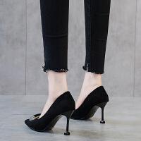 女鞋2019春季新款网红鞋高跟鞋细跟百搭尖头高跟单鞋工作鞋OL夏季百搭鞋