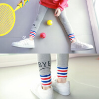 新款童装时尚拼接裤撞色螺纹童裤弹力打底裤修身显瘦打底裤