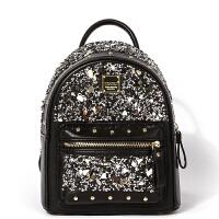 夏天新款时尚双肩包韩版铆钉背包学院风拼接包包简约女包 黑色