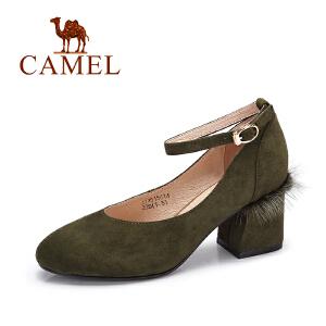 Camel/骆驼女鞋 秋季新款 优雅时尚粗跟单鞋女舒适高跟单鞋