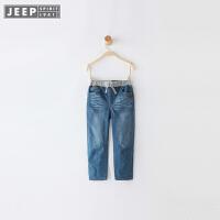 JEEP/吉普童装 男童牛仔夹裤子中大儿童棉质系绳休闲长裤冬新款