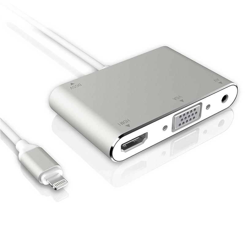 苹果手机连接电视显示器投影仪转换器iPad转VGA高清同屏器 炫酷银(iPad/iPhone三合一) 同屏器
