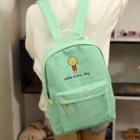 韩版卡通 帆布双肩包女初中高中学生书包双肩背包