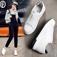 ZHR2017春季新款韩版厚底小白鞋女平底单鞋白色板鞋百搭真皮女鞋G109