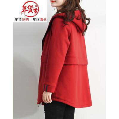 胖mm加大码女装秋冬装新款加厚显瘦遮肚子减龄卫衣外套   本产品为促销产品,限购一件,未经过客服同意,私自大量下单的一律不发货,并且不作为