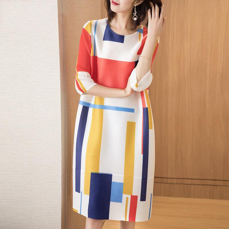 夏季百褶中长款格子褶皱连衣裙三宅裙宽松大码一生显瘦A字裙子  2X