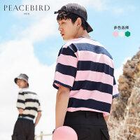 太平鸟男装 夏季短袖T恤男条纹体恤海魂衫潮流夏装沙滩半袖情侣衫