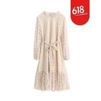 魅儿甜美自制春装新款女装花朵蕾丝连衣裙复古中长款小香风裙子GH093 米杏色 均码