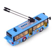 天鹰 仿真合金城市单节电车模型 儿童声光回力玩具公交巴士