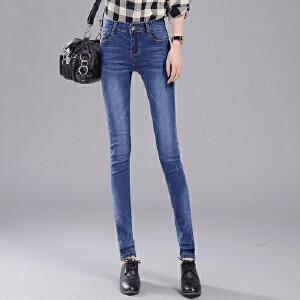 春秋冬季新款黑色牛仔裤女士小脚长裤修身韩版显瘦弹力大码女裤子