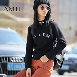 AMII[极简主义]冬新大码小高领休闲绣花修身字母毛衣11683093