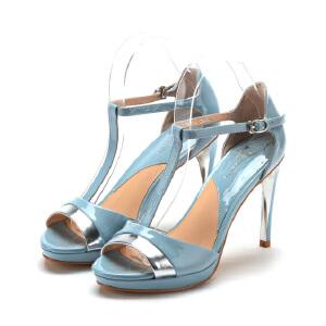 菲伯丽尔Fondberyl春夏牛皮超高跟搭扣拼色凉鞋女FB52112665