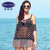 安莉芳新款3件套波点防晒裙式罩衫泳衣女比基尼分体泳装