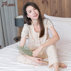 顶瓜瓜睡衣女纯棉短袖长裤套装 女士甜美蕾丝花边彩棉家居服套装