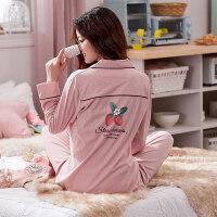 睡衣女秋韩版清新学生纯棉长袖可外穿甜美可爱大码两件套装家居服 (长袖)1702粉色草莓