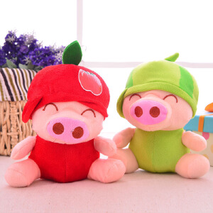 维莱 水果麦兜猪毛绒玩具玩偶布娃娃婚庆结婚礼品生日礼物送女生 苹果猪 20cm