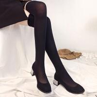 丝袜过膝长靴女靴2019新款欧美粗跟水钻显高筒袜子靴弹力靴女 黑色