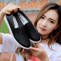 艾迪妮2019夏季新款女鞋镂空乐福鞋女透气厚底小白鞋韩版百搭单鞋 鑫姿 609 黑色