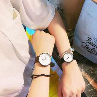 文艺简约手表 黑白男女学生韩版日系潮流街头时尚复古百搭皮带休闲手表