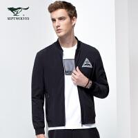 七匹狼旗下彼尔达姆系列夹克外套男士春新款时尚休闲棒球领单茄克