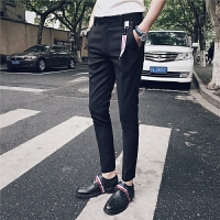 新款秋冬男士条纹休闲裤发型师潮流修身小脚裤青年夜店裤子男
