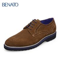 benato宾度男鞋 布洛克鞋磨砂皮雕花系带商务休闲男士日常