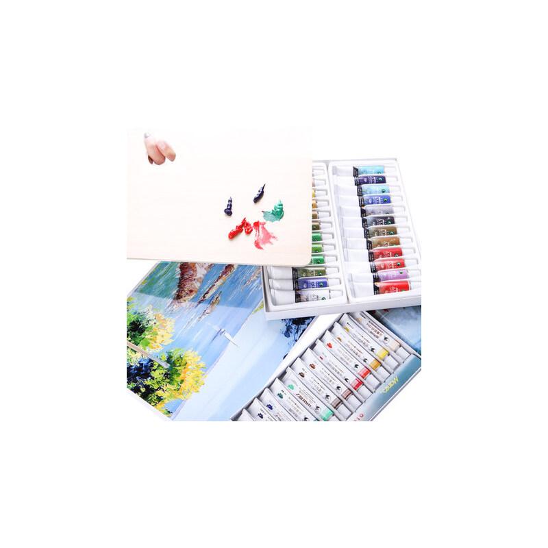 马利牌油画工具套装初学者专用12色18色24色油画颜料套装油画框画洗笔刮刀调色盘用具用品美术画材全套材料箱 省心搭配 实用性高 买1送6