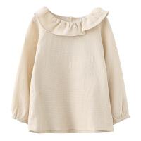 女童长袖衬衫秋季儿童娃娃领衬衣圆领套头上衣